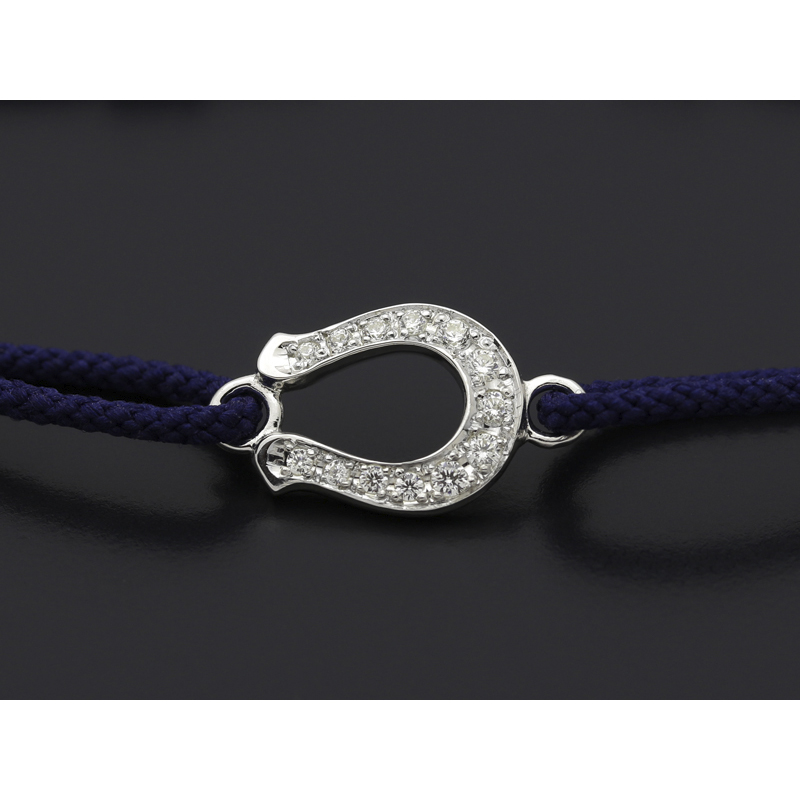 Horseshoe Amulet Cord Bracelet - Silver w/CZ