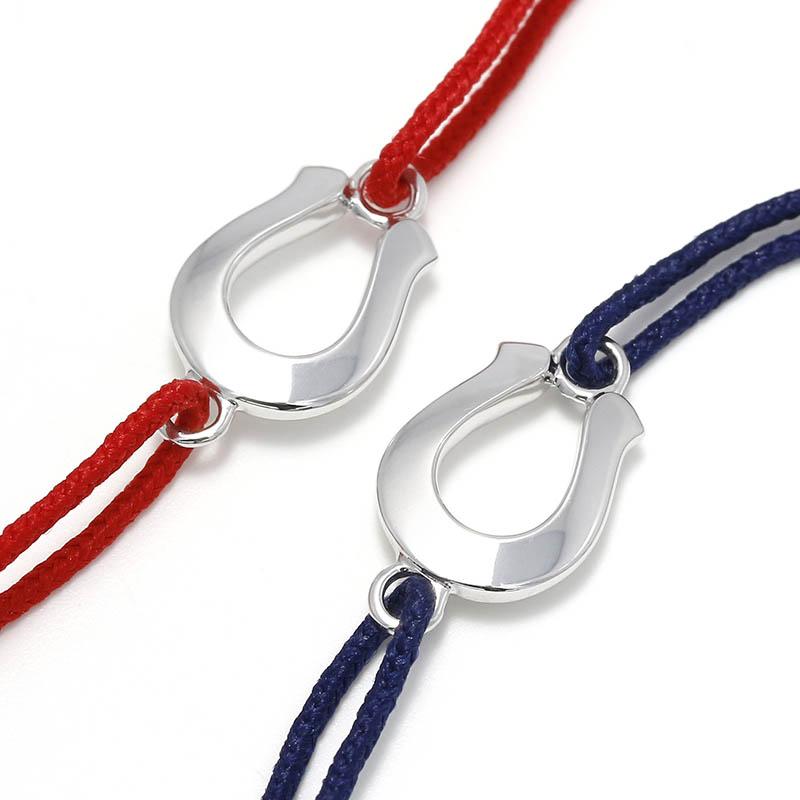 Horseshoe Amulet Cord Bracelet - Silver