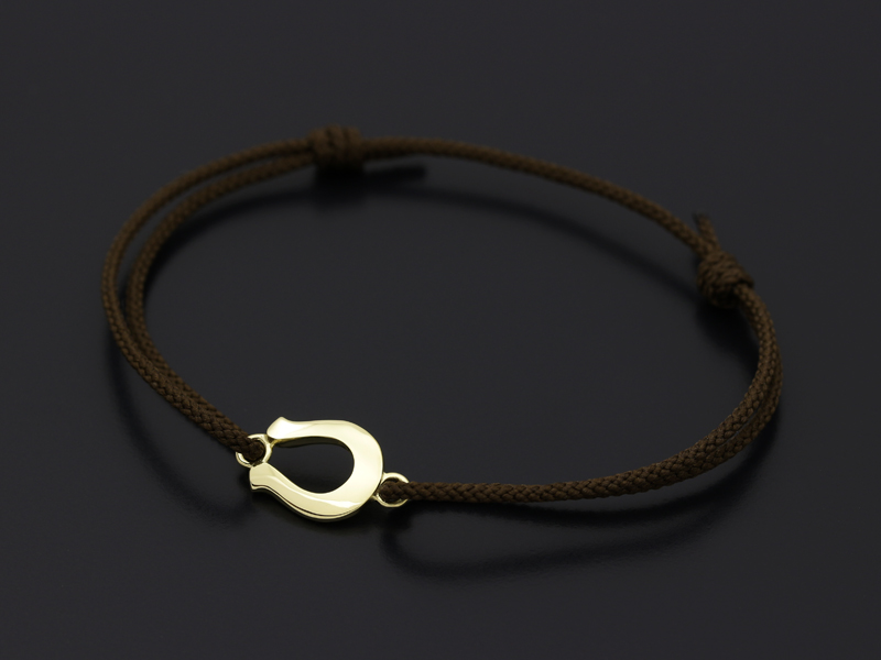 Horseshoe Amulet Cord Bracelet - K18 Yellow Gold