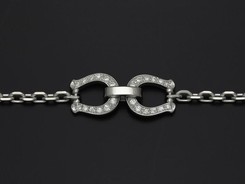 Horseshoe Chain Bracelet - Silver w/CZ