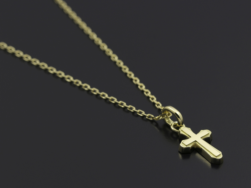 Smooth Cross Pendant - K18Yellow Gold