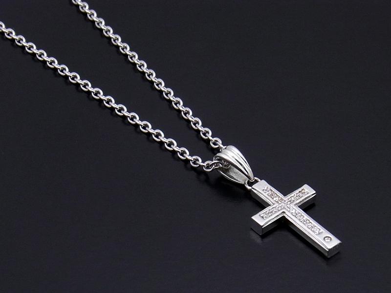 Gravity Cross Pendant - Silver w/Clear CZ