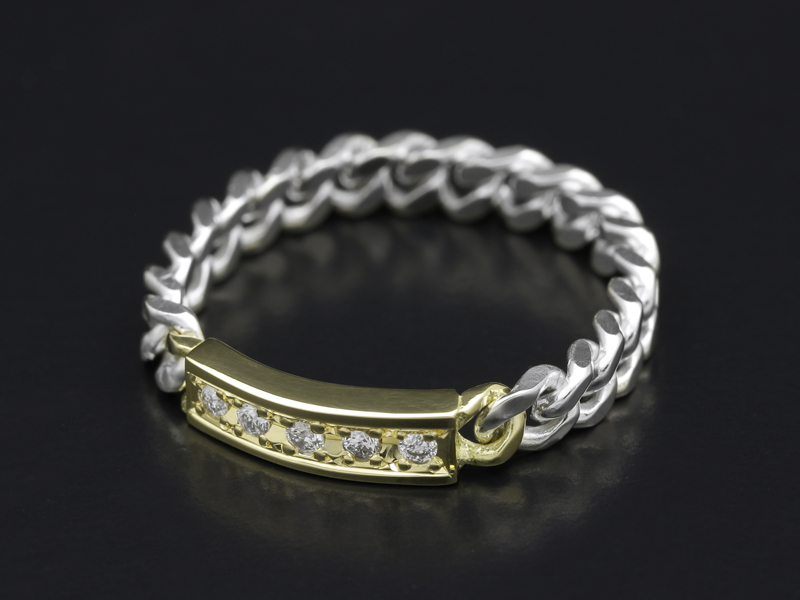 ID Chain Ring - Silver×K18Yellow Gold w/Diamond