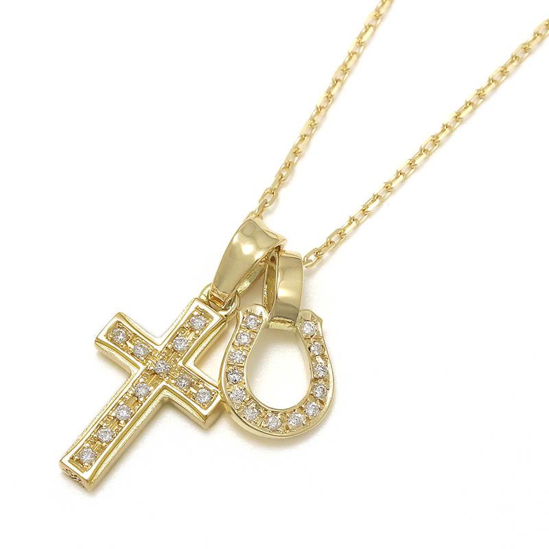 S.O.S fp恵比寿本店、インターネットストア限定 Small Gravity Cross Necklace w/Horseshoe - K18Yellow Gold w/Diamond